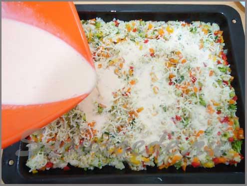 разноцветный овощной торт