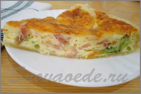 рецепт заварного пирога с беконом и броколи