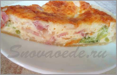 заварной пирог с беконом и броколи