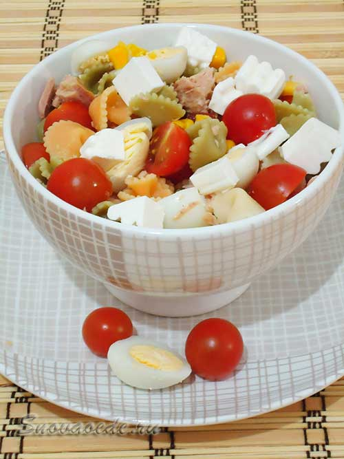 Салат c тунцом и макаронами