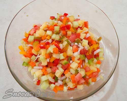 тимбаль с овощами