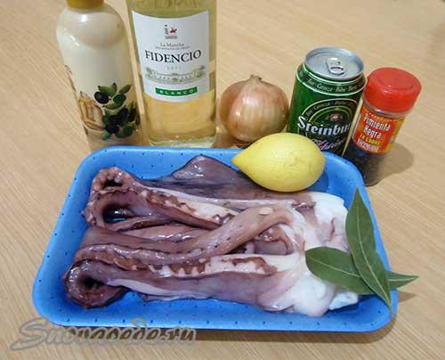 продукты для приготовления осьминога