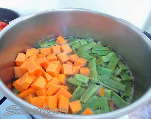 тыква и зеленый фасоль