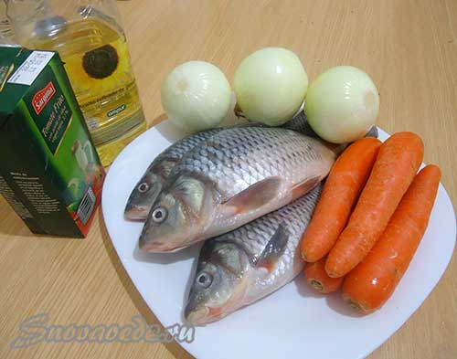 продукты для приготовления тушеной рыбы