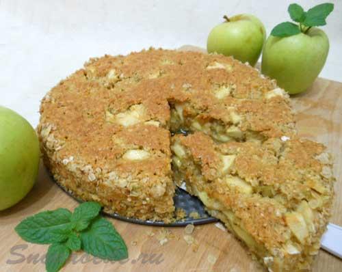 мексиканский яблочный пирог из овсяных хлопьев