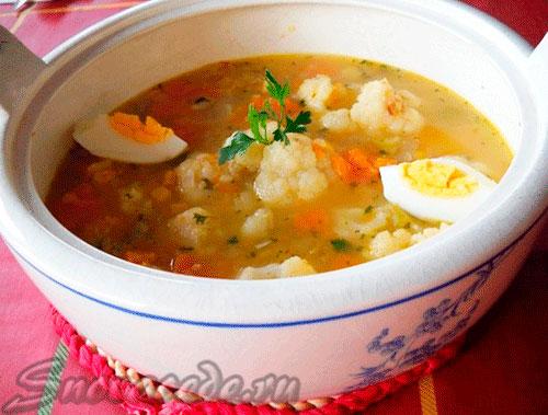 Суп из цветной капусты и тыквы