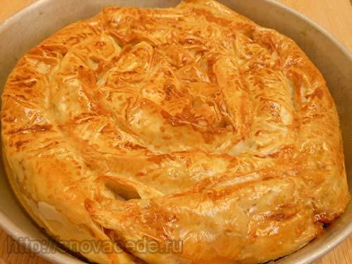 Пирог с мясным фаршем из теста фило